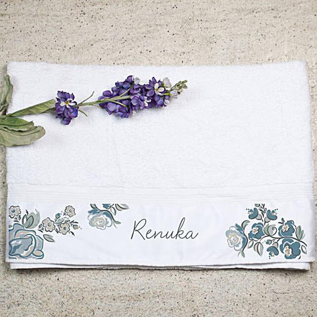 Personalised Floral Print Bath Towel