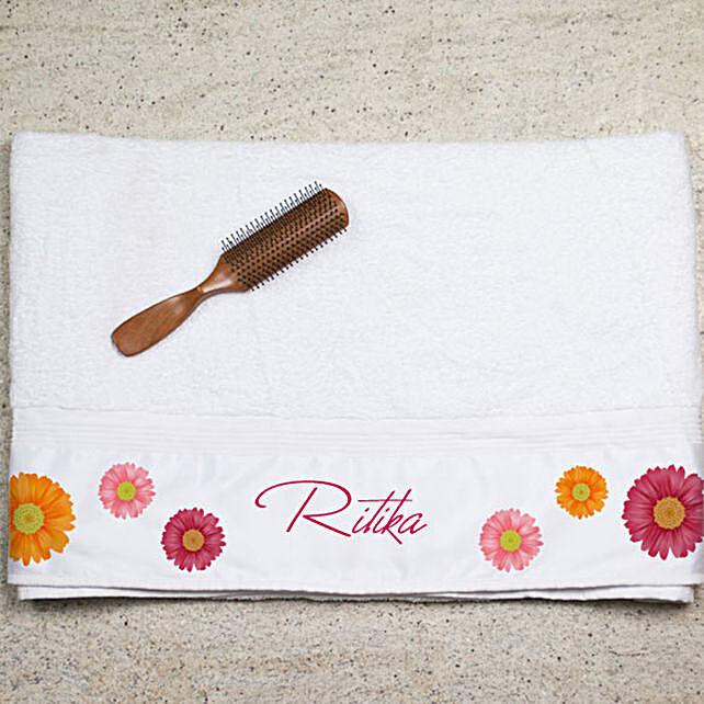 Personalised Flower Printed Towel:Personalised Towels