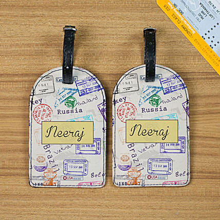 Personalised Travel The World Luggage Tags