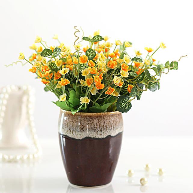 beautiful bunch of artificial yellow gypsophila online:Artificial Flowers
