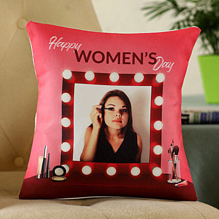 happy womens day with photo printed cushion online