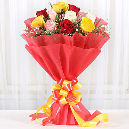 Mixed Roses Romantic Bunch:Send Flower Bouquet For Anniversary