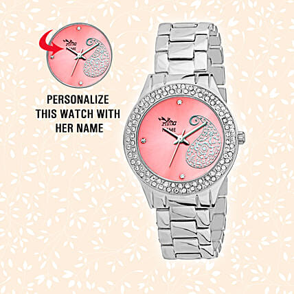 online stylish pink dial watch