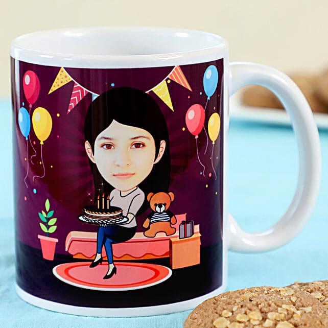 customised birthday caricature printed mug online