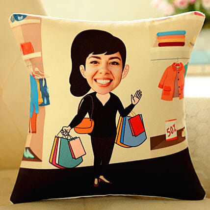 funny caricature printed cushion for her