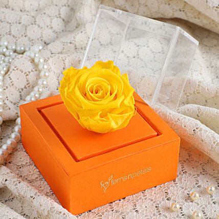 yellow infinity rose inside box online
