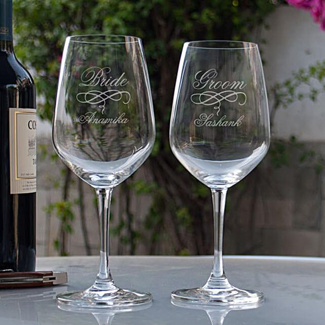 Customised Wine Glasses For Bride & Groom
