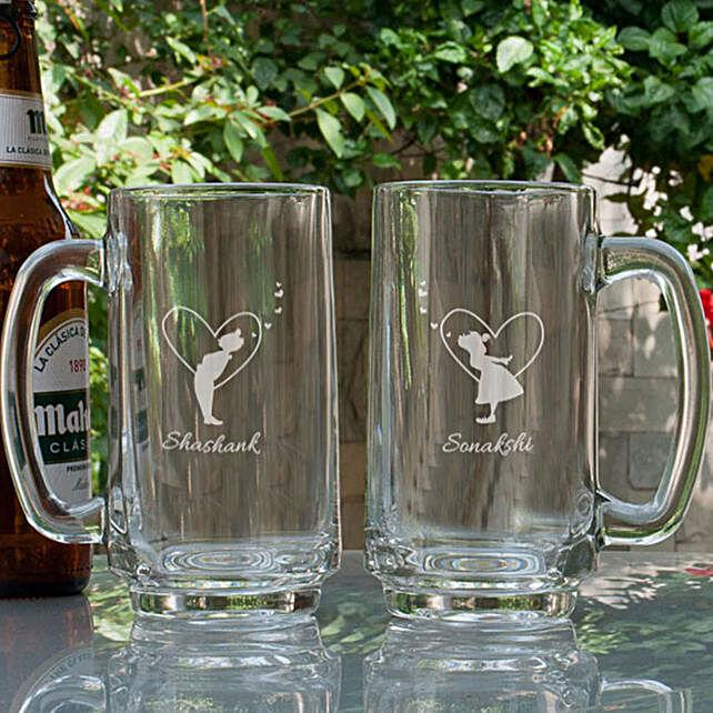 Customised Beer Mugs For Couple Online:Buy Personalised Beer Glasses