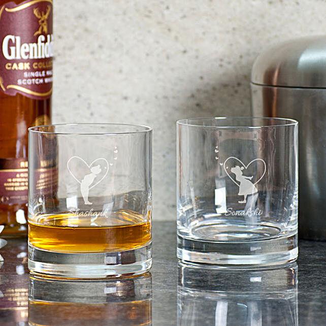 Couple Customised Whiskey Glasses