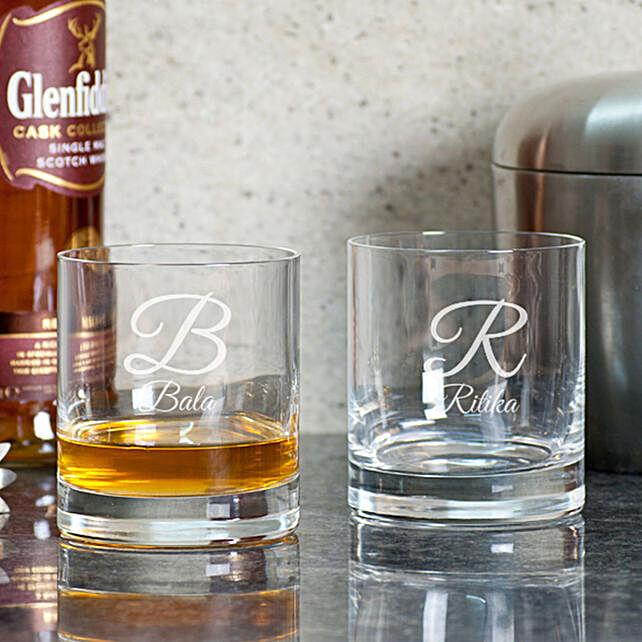 Name Initial Printed Whiskey Glasses