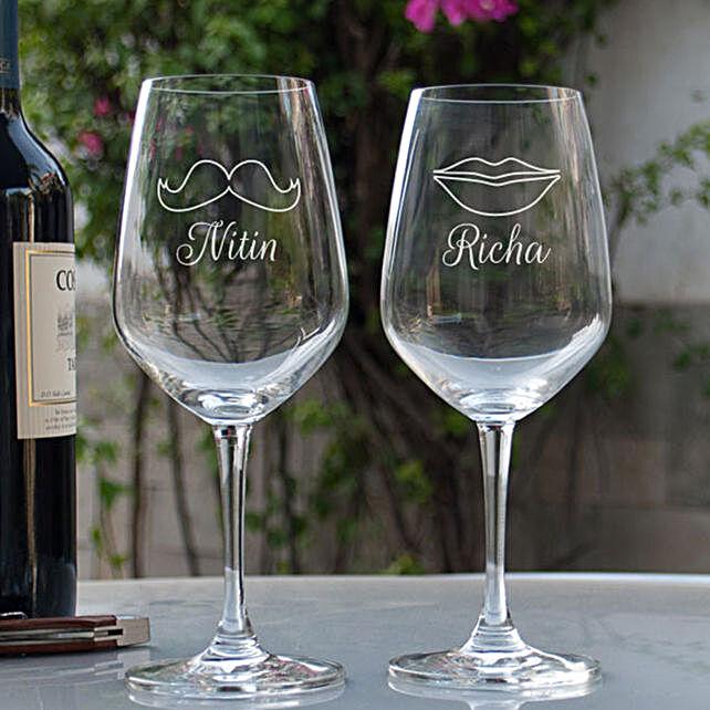 Customised  Couple Wine Glasses