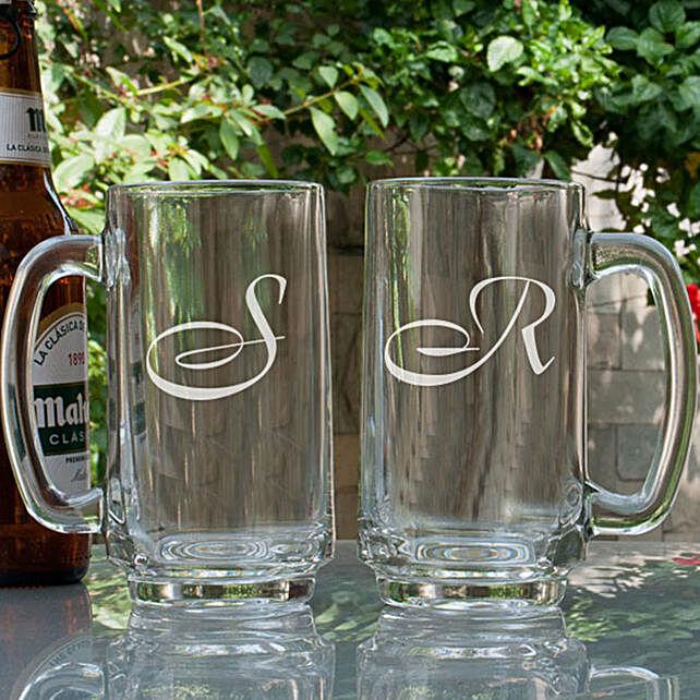 Customised Name Initial Beer Mugs:Buy Personalised Beer Glasses
