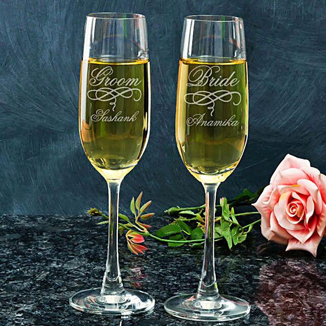 Customised Champagne Glasses For Groom & Bride