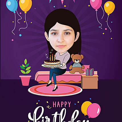 online birthday caricature for her