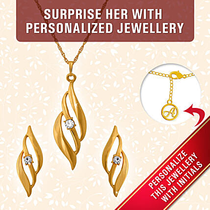 personalized elegant pendant set for her:Personalised Jewellery