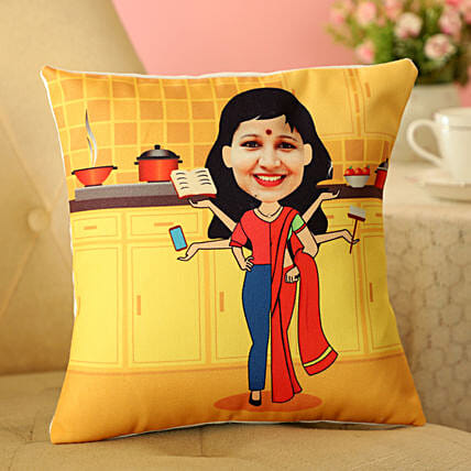 Online Chef Mom Caricature Cushion
