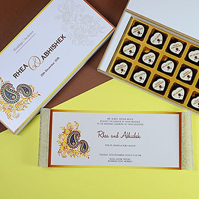Classic Wedding Invitation Card and Chocolates