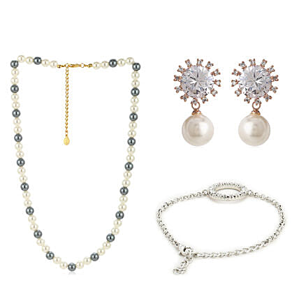 Classic Pearl Necklace Earrings And Bracelet Combo