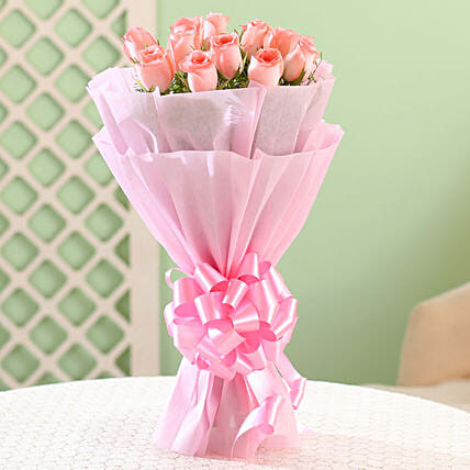 Bouquet of 12 pink roses flowers gifts womens day women day woman day women's day:Happy Birthday Roses