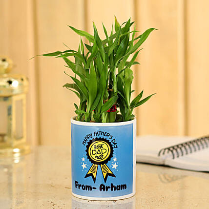 Bamboo Plant In Best Dad Personalised Planter