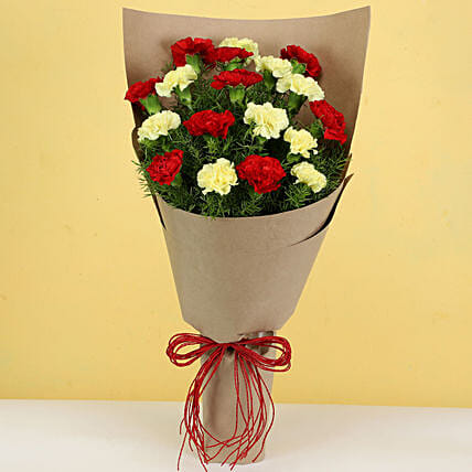 Exquisite Red Yellow Carnations Bouquet