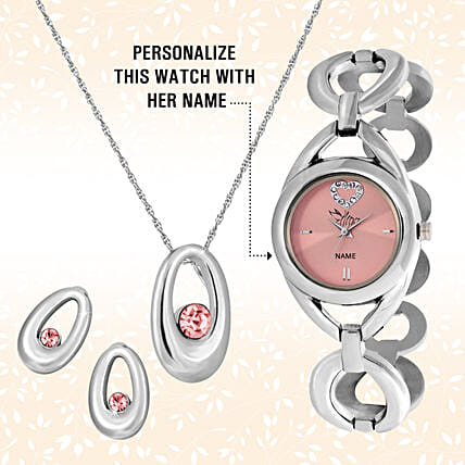 Personalised Pink Watch & Pendant Set:Buy Watches