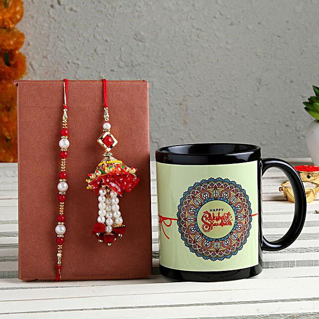 Order Black Printed Mug and Bhaiya Bhabhi Rakhi Set