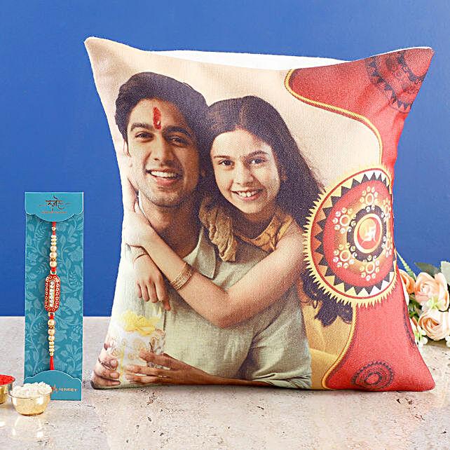 personalised siblings cushion n capsule rakhi 1