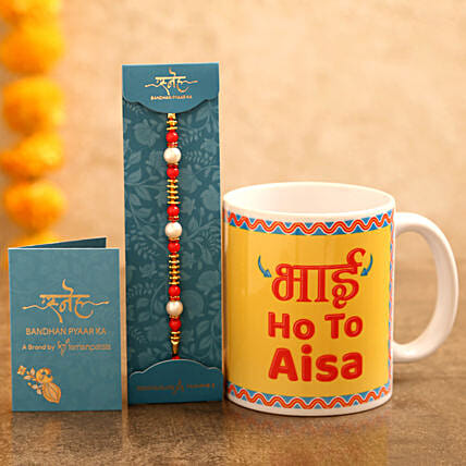 Pearl rakhi with coffee mug online