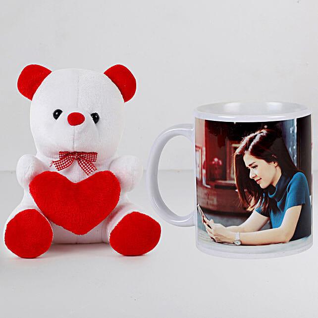 Personalised White Mug n Teddy Combo