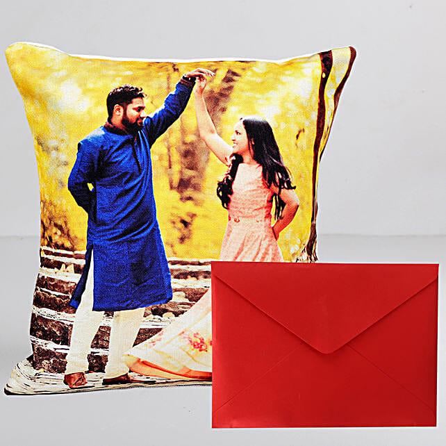 Personalised Cushion n Greeting Card Combo:Personalised Gifts N Greetings Cards