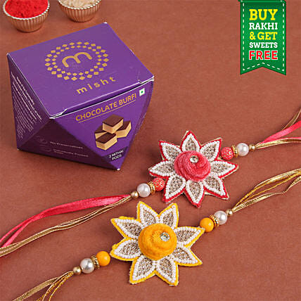 Floral Rakhi Set & Chocolate Burfi