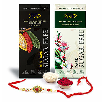beautiful rakhi with stevia chocolates
