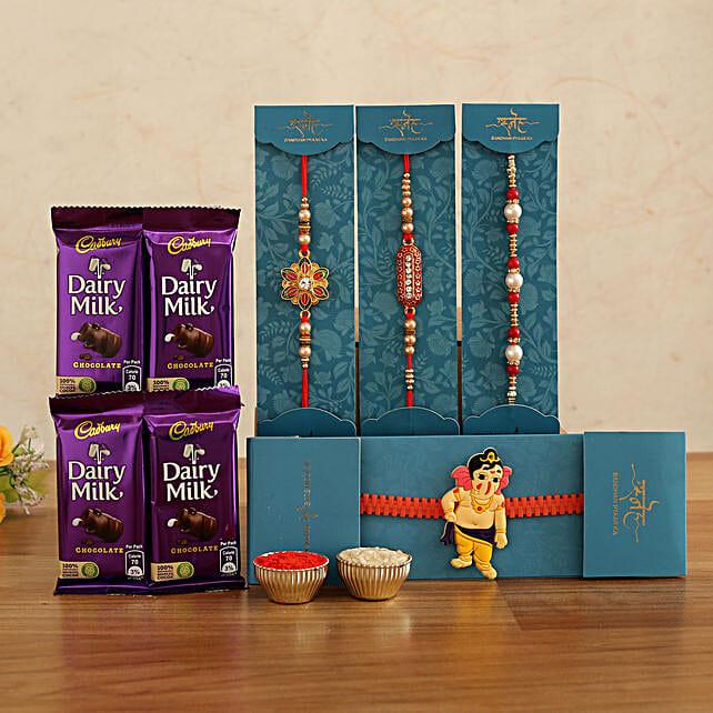 online Set of 4 Rakhis With Dairy Milk Chocolates