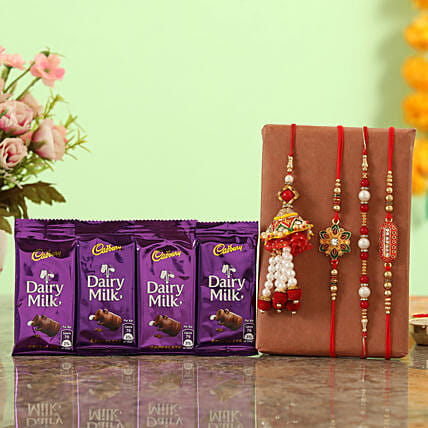 Buy grand rakhi set with dairy milk online