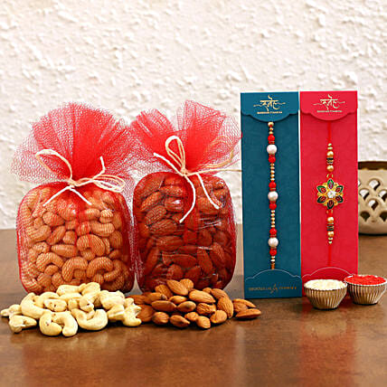 Online Meenakari and Pearl Rakhi With Dry Fruits