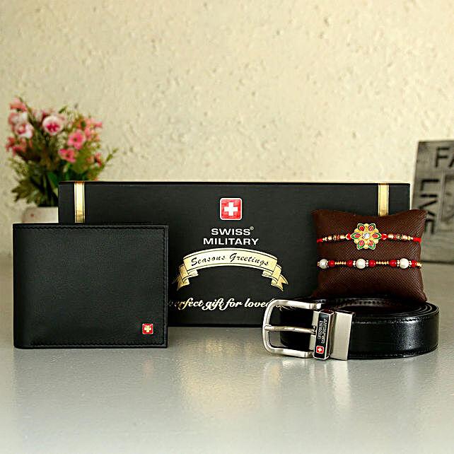 Online Wallet And Belt With Rakhi Set