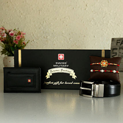 Online Belt And Wallet Combo With Two Rakhis