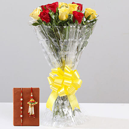Mixed Flower Bouquet and Beaded Rakhi Online