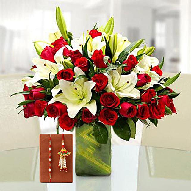 Mixed Flower Vase and Rakhi Online