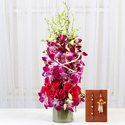 Orchid Vase and Rakhi Set for Bhaiya Bhabhi