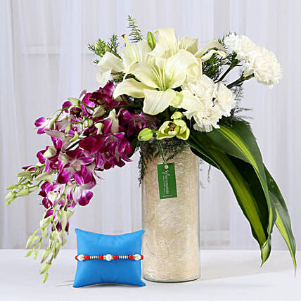 Mixed Flower Bouquet and Rakhi Online