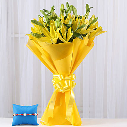 Lilies Bouquet and Rakhi Online