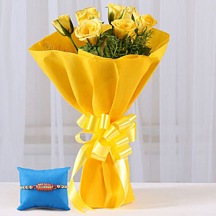 Online Bunch of Roses and Rakhi Combo