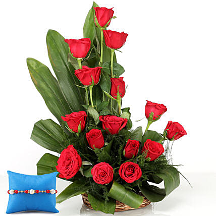 Designer Rose Basket and Rakhi Online