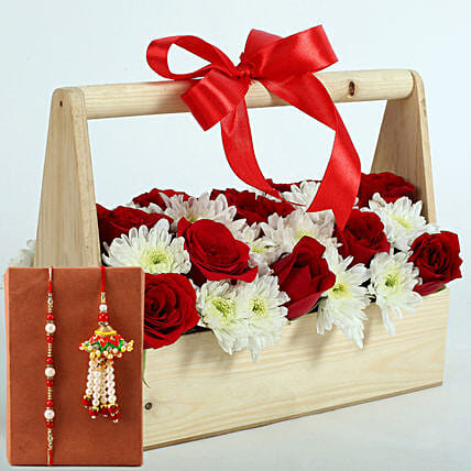 Flower Basket with Rakhi for Bhaiya Bhabhi