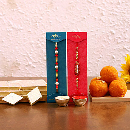 Kaju Burfi & Boondi Laddu With Rakhi Set