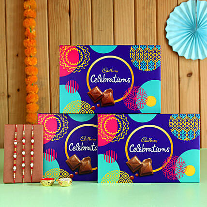 Four Pearl Rakhis & Cadbury Choco Boxes- 3 Pcs