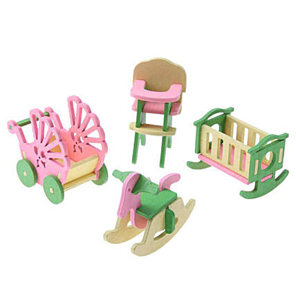 Wooden Doll House Room Set
