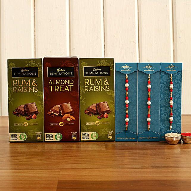 Designer Rakhi and Chocolate Bar Combo